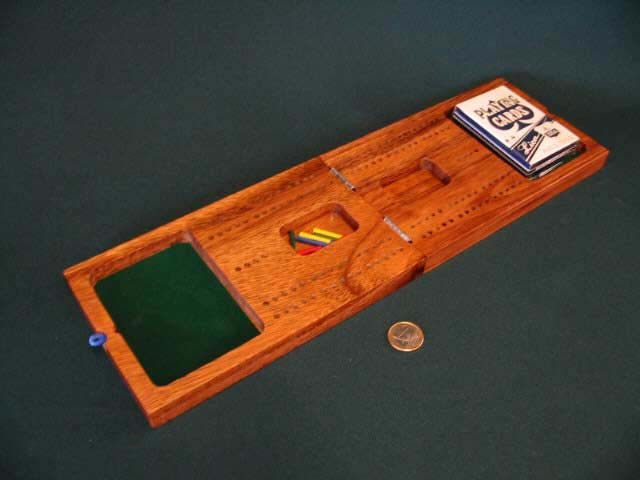 Cribbage board open